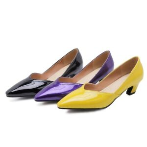 Ladies Pointed Shoes Shiny Synthetic Leather Med Heels Party Pumps AU Size S208
