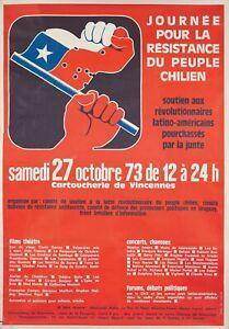 Original Vintage Poster Resistance Chilean People France 1973