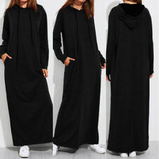 Women Long Sleeve Hooded Short Maxi Dress Hoodies Sweatshirt Pullover Jumper Top