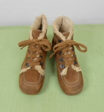 Vtg 80's Kinney Brown Suede Leather & Faux Shearling Wedge Ankle Boots 7.5 M