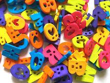 50 pcs A to z abc Alphabet letter buttons 2 holes (random Pick) mix color
