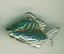 "925 Sterling Silver Blue Glass Stripey Fish Pendant    Width1.1/4"""