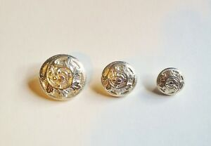 6 METAL ORNATE SILVER BLAZER COAT BUTTONS 13 17 or 22mm