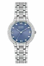 NEW Ladies Citizen EM0120-58L Eco-Drive Stainless Steel Diamond Accented Watch