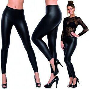 Cuir Look Leggings Mouillé Noir Femmes Filles Élastique Extensible Taille Neuf