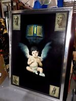 Large Rare Fine Vintage Oil on Canvas Mystery Painting - Birth of an angel
