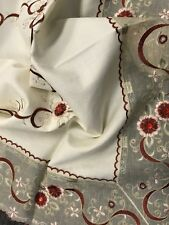 "Beige Embroidered Red Ruby Burgundy Rhinestone Embroidery Tablecloth 36"" Square"