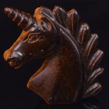 "2"" Yellow Tiger Eye Unicorn Figurine Healing Crystal Natural Gemstone Statue"