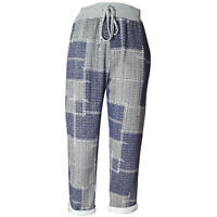 New Womens Ladies Italian Block Check Summer Cotton Jogging Trousers Plus Sizes