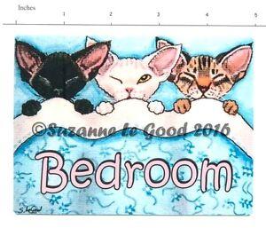 ORIGINAL DESIGN DEVON REX CAT PAINTING BEDROOM DOOR SIGN BY SUZANNE LE GOOD
