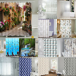 PEVA Waterproof Bathroom Shower Curtain White Floral Lace Fabric Liner Clear