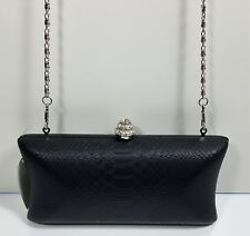 Orly Black Contro Sophie Embossed Evening Rhinestone Clutch Convertible $295