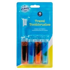 4 PK Fold Up Travel Toothbrush Set Folding Compact Pocket Guest Holidays Camping