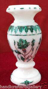 "6"" White Marble Flower Vase Malachite Design Floral Inlay Handmade Decors H2297"