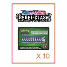 10x Sword & Shield Rebel Clash x 10 Pokemon Online Booster Pack Code Cards Tcgo
