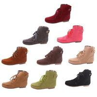 Fashion Women's Lace Up Winter Autumn Boots Flat Ankle Shoes Plaid Martin Boot S