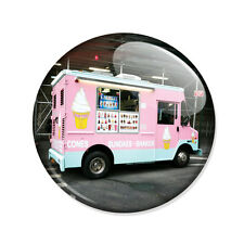 Badge CAMION MARCHAND de GLACE Ice Cream food truck yummy pink retro pins Ø25mm