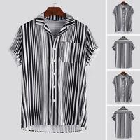 Men Hawaiian Shirts Beach Holiday Casual T-shirt Short Sleeve Tee Blouse Summer