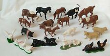 Vintage CRESCENT, 60's, Farm Animals complete set x 18 + cart horse. 54mm plas'