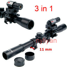 US 4x20 AirSoft Gun Rifle Scope +mini Red Laser Sight +Universal Mount Hunting