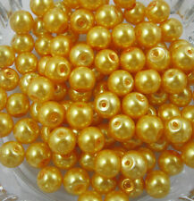 Wholesale 100Pcs Yellow Glass Pearl Round Spacer Loose Beads 4mm