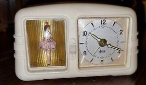 Antiker Wecker mit Spieluhr, tanzende Ballerina 50/60 iger Jahre, Bakelit Wecker