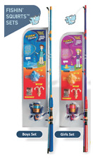 KIDS FISHING SETS X 2 (GIRL AND BOY ROD AND REEL)