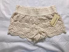 Rewind Crochet Shortie Shorts Juniors Size Medium Cream Pull On Elastic Waist