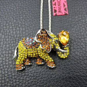 Betsey Johnson Yellow Crystal Cute Elephant Pendant Sweater Necklace/Brooch