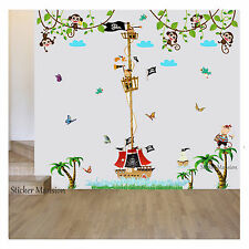 Pirate Ship Monkey Height Chart Wall Stickers Tree Nursery Baby Kids Room Decals