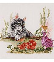 Fairy and kitten  counted cross stitch kit NIP RARE KIT Janlynn