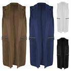 NEUF femmes long chiffon veste fermeture éclair poche gilet manteau blazer haut