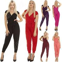 New Ladies Womens Plain All In One Sexy Jumpsuit Playsuit Size S M L XL 8 12 14