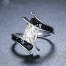 Fashion 925 Silver Wedding Rings Women Jewelry White Sapphire Rings Size 10