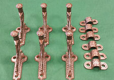 6 STAIR HAND RAIL HOLDERS CAST IRON VINTAGE SCARCE DECORATIVE MOUNTNG CLIPS #115