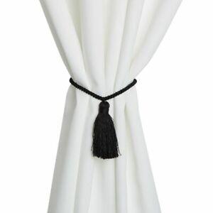 Black Rope Curtain Tiebacks, Holdbacks for Drapes (17.75 In, 2 Pairs)