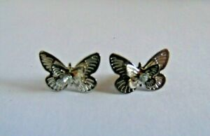 Silver Tone 3D Layered Butterfly Stud Style Earrings with Centre Stone