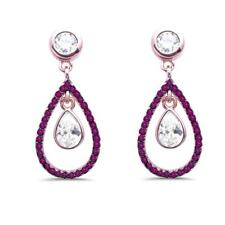 Rose Gold Plated Ruby & White Cubic Zirconia Dangle .925 Sterling Silver Earring