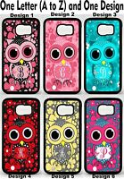 For Samsung Galaxy S6 Cute Owl Flowers Group 1 Personalized Monogram Phone Case