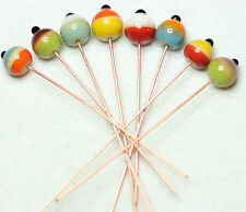 8 INDIAN LAMPWORK COPPER COLOUR HEAD PINS 60mm/HEAD 10mm ROUND MULTI (BBF1040)