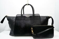 100% Authentic MCM Italy Made Black Fur/Leather Hand Bag+Pouch