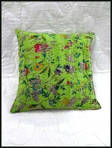 2 Pieces Set Cotton Kantha Cushion Cover Handmade Boho Pillow Sham Indianart
