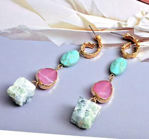 Gorgeous Zara Colourful Long Irregular Natural Stone Earrings