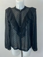 Ladies new black ex primark top blouse size 6 8 10 12 14 16 18 20