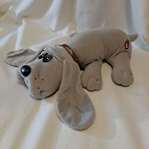 "Vintage Pound Puppy Plush Gray Dog with collar  1985 Large 17"" Tonka Vintage"