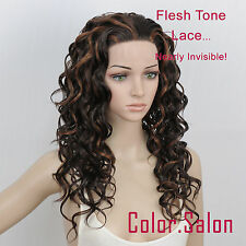 New ! Hand-Tied Flesh Lace Front Synthetic Wigs Curly Multi-color 99#4F30 (F)