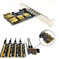 New 4 Ports PCIe Riser Adapter Board PCI-E 1x to 4 USB 3.0 PCI-E -Rabbet GPU