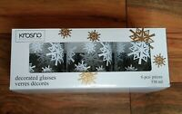 Krosno Lot of 6 Decorated Drinking Glasses Set  Snowflake Winter Christmas NEW