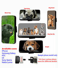 Pug Beagle Dog Puppy pet leather phone case wallet for Samsung iPhone