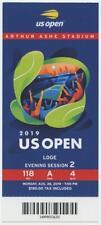 8/26 2019 US Open Tennis Loge FULL TICKET Bianca Andreescu Serena Williams